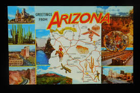 Tucson Zip Code Map by 1960s Arizona State Map Greetings Small Views Landmarks Icons Az