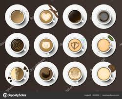 coffee cups assortment top view collection vector illustration