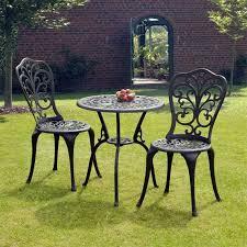 Aluminium Bistro Chairs Sussex Black Cast Aluminium Bistro Set Gardens Homes Direct