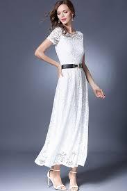 unomatch women hollow lace round neck long wedding dress white