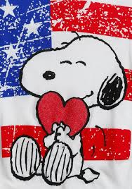 Snoopy Flags Tween Peanuts Snoopy Hearts America T Shirt