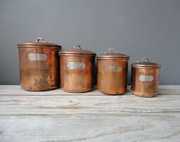 copper canisters kitchen set of copper nesting kitchen canisters by oceanswept on etsy