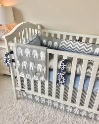 crib bedding grey elephants chevron baby blue and navy