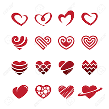 set of red heart icons logos signs and symbols for love