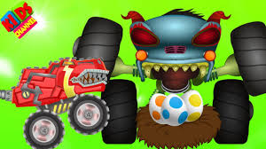 monster truck cartoon videos hhmt vs monster truck t rex in cartoon dinosaurs video episode 66