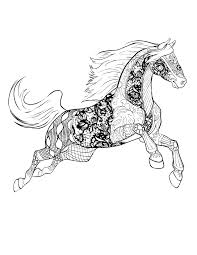 coloring book page hand drawn decorative horse for coloring