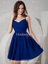 simple graduation dresses royal blue chiffon with straps graduation dress