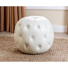 White Leather Ottoman Ivory Grand Tufted Leather Ottoman