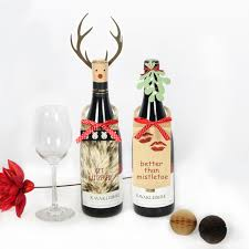 wine bottle bows pack of 2 craft paper mistletoe leaves and reindeer wine bottle