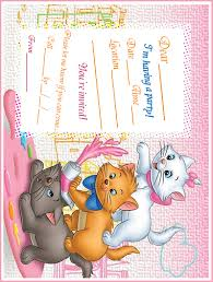 Printable Party Invitation Cards Aristocats Marie Aristocats Printable Party Invitation Free