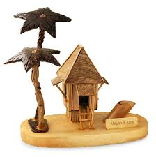 personalized handmade coconut wood house with palm trees