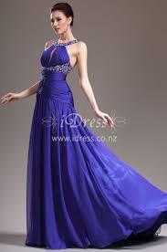 royal blue drop waist long chiffon evening dress with beads idress