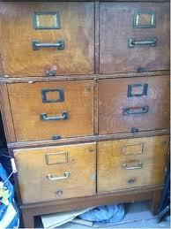 Vintage Oak Filing Cabinet 4 Drawer File Cabinet Stackable Organizer Vintage Library Card