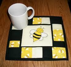 bumble bee candle mat mug rug quilted coaster folk art whimsical