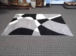 Modern Contemporary Rugs Modern Abstract Pattern Gray Black White Shag Rug With