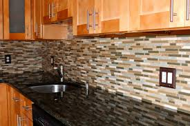 kitchen black gray mosaic glass tile backsplash shiny kitchen