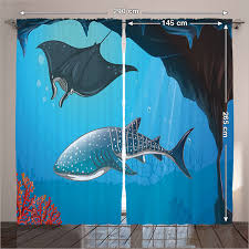 Shark Bedroom Curtains Curtains Navy Living Room Shark Underwater Stingray Coral Maritime