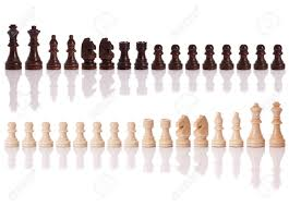 White Chess Set A Set Of Black And White Chess Pieces Isolated On A White