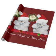 cat christmas wrapping paper vintage cat christmas wrapping paper white cat santa claus hat