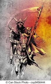 drawing of death sketch of tattoo art warrior at horse