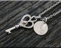 Monogram Key Necklace Key Charm Necklace Etsy