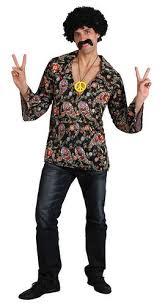 1960s Halloween Costume Hippy Shirt Wig Mens 1960s Fancy Dress 60s Hippie Sixties