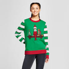 women u0027s elf on the shelf sweater ugly christmas sweater green