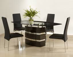Elegant Modern Parsons Chair Leather Kitchen Kitchen Dining Sets With Rectangular Table With Glass Top
