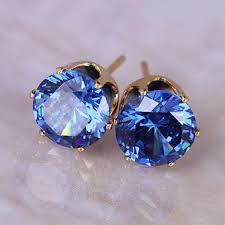 earrings brand wholesale top brand design gold color blue zircon stud