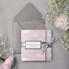 order wedding invitations grey and pink lace wedding invitation express order pocket