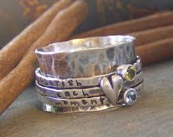 silver mothers ring herz und stein spinner ring gestempelt birthstone sterling