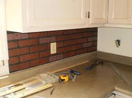interior awesome faux brick backsplash on kitchen with fit