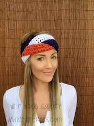 football headbands denver broncos navy blue orange white braid hair accessory