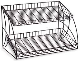 Metal Wire Storage Shelves Black Countertop Wire Metal Rack 2 Shelving Tiers