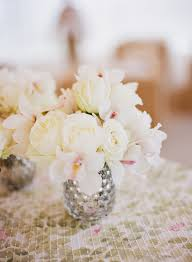 Orchid Centerpieces Small White Rose And Orchid Wedding Centerpiece Elizabeth Anne