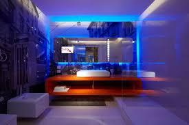 bright blue bathroom led lighting ideas combined with orange