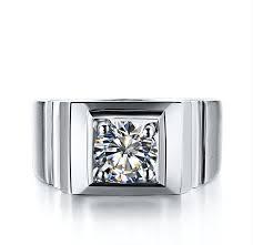 mens wedding rings white gold 1 carat 18k white gold ring real diamond men s wedding