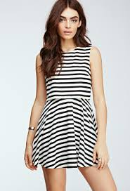 forever 21 striped layered dress in black lyst