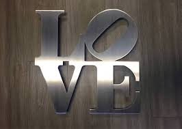 stainless steel home decor love sign metal wall art home decor cascade manufacturing