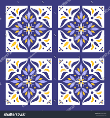 portuguese tiles pattern vector blue yellow stock vector 502295890
