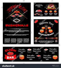sushi bar japanese restaurant banners posters stock vector