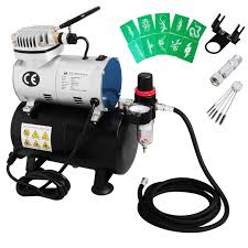 voilamart air compressor 1 6 hp airbrush stencils hose kit with