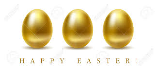 gold easter eggs happy easter greetings card with golden eggs on white background
