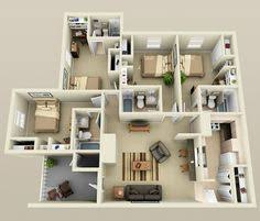Two Bedroom Apartments 2 Bedroom House Plans 3d Google Search House Plans Pinterest
