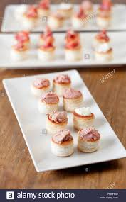 pate canapes snacks tasty snacks assorted canapes cheese and pâté stock photo