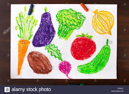 color drawing miscellaneous types of vegetables stock photo