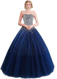 blue dresses sparkly gown strapless navy blue tulle beaded prom dress