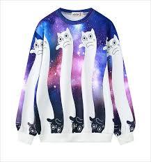 galaxy sweater galaxy cat sweatshirt sudadera gato galaxia wh299 kawaii