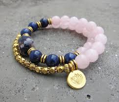 rose quartz bead bracelet images Lapis lazuli rose quartz mala bead bracelet w by yogisnista on JPG