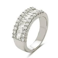 baguette diamond band white gold 18k tapered baguette diamond band with outer cut
